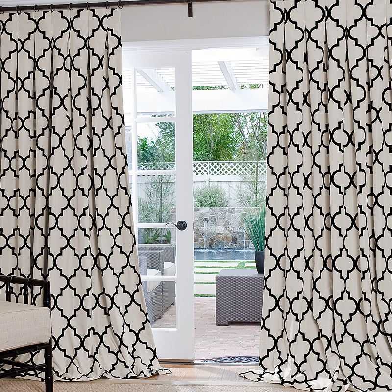 Black And White Toile Shower Curtain Brown and Cream Trellis